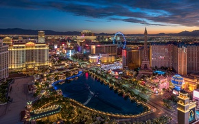 Picture landscape, mountains, night, lights, Las Vegas, USA, night city, the view from the top