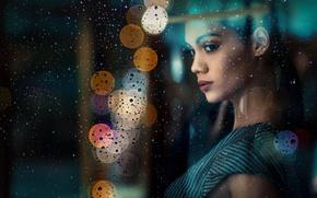 Picture look, glass, girl, drops, rain, portrait, window, bokeh