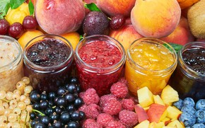 Picture cherry, berries, raspberry, kiwi, blueberries, banks, fruit, peach, currants, gooseberry, jam, drain