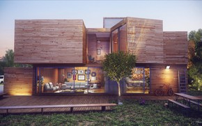 Picture design, bike, House, structure, exteroir final render
