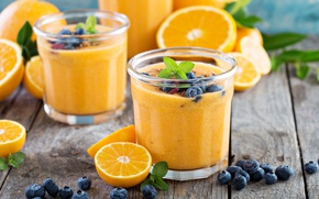 Picture orange, blueberries, drink, mint, fresh, smoothies
