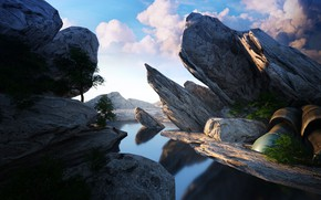 Picture the sky, clouds, rocks, pond, Octane render quick test