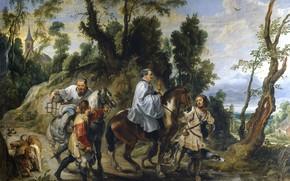 Wallpaper Pieter Paul Rubens, genre, Help Rudolph Of Habsburg Priests, Peter Paul Rubens, picture
