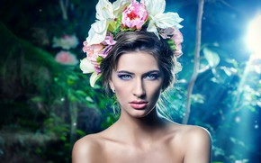 Picture look, flowers, background, portrait, makeup, lighting, brunette, hairstyle, beauty, bokeh
