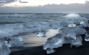 Picture coast, ice, Iceland, Iceland, Jökulsarlon beach