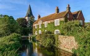 Picture west, old, England, church, Sussex, Lumix, water reflections, history mill, cute tower
