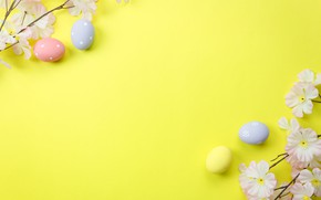 Picture flowers, eggs, spring, Happy, flowers, background, tender, Easter, blossom, Easter, eggs, decoration, spring