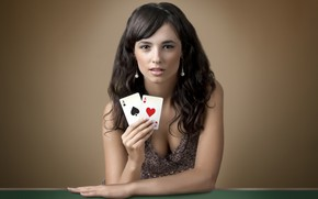 Wallpaper card, look, girl, brunette