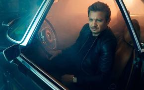 Wallpaper photoshoot, sitting, Robb Report, auto, black, night, actor, driving, Jeremy Renner, kozhanka, Jeremy Renner, jacket, ...