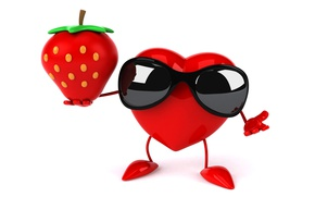 Picture heart, strawberry, heart, strawberry, funny, rendering, sunglasses, 3D Art