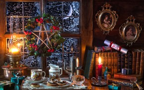 Wallpaper star, Christmas, photos, candle, lamp, coffee, cookies, window, books, New year, gifts, wreath, style