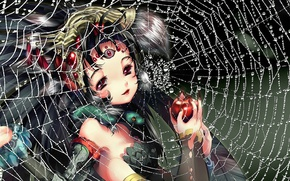 Picture drops, face, Apple, web, hands, girl, claws, long hair, third eye, spider girl
