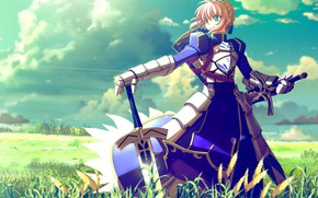 Picture sword, Fate Stay Night, armor, anime, crown, pretty, ken, blade, queen, warrior, manga, king, Saber, …