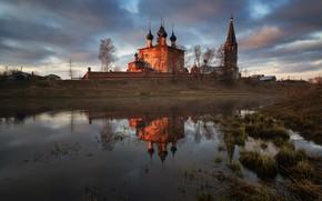 Wallpaper temple, reflection, river, dawn, village