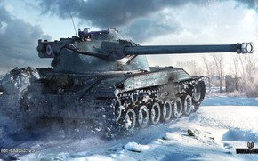 Wallpaper winter, snow, tank, average, World of Tanks, French, WOT, Bat.-Châtillon 25 t