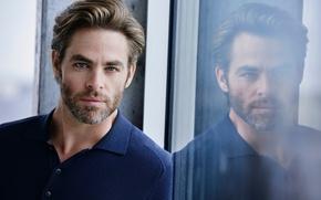 Picture glass, reflection, portrait, actor, Chris Pine, Chris Pine, Matthew Brookes, Cologne, Armani Code