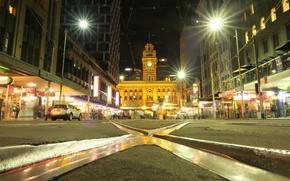 Picture night, lights, street, home, Australia, Melbourne