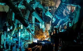 Picture sparks, industry, welders, Robotics