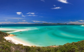 Picture sea, beach, the sky, coast, Bay, yachts, boats, horizon, Australia, Whitehaven Beach