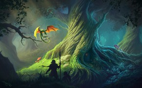 Picture forest, man, dragon, knight, spear