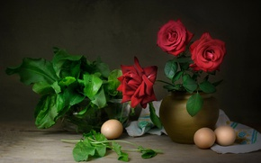Picture roses, eggs, still life