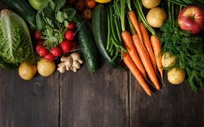 Picture greens, Vegetables, carrots, potatoes