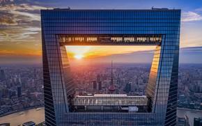 Picture sunset, home, panorama, China, Shanghai, Shanghai world financial center