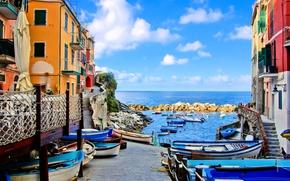 Picture sea, coast, Villa, boats, Italy, houses, Riomaggiore, travel