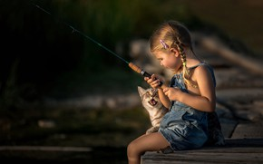 Picture cat, fishing, girl
