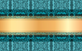Picture pattern, texture, ornament, green background, gold ribbon