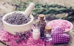 Wallpaper lavender, spa, oil, heart, lavender, salt, pink
