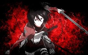Picture red, girl, game, anime, brunette, asian, manga, japanese, oriental, asiatic, seifuku, Shingeki no Kyojin, Mikasa …
