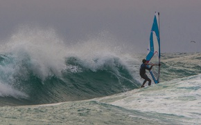 Wallpaper sea, wave, the wind, sail, Board, Windsurfing