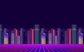Picture Minimalism, The city, Background, Pixels, 8bit, Electronic, 8bit, 8 bit, bit, Synth, Retrowave, Sinti, Synthwave, ...