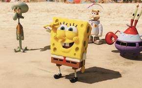 Wallpaper animated film, The SpongeBob, The SpongeBob Movie: Sponge Out Of Water, sand, SpongeBob SquarePants, animated ...