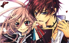 Picture card, look, hands, collar, two, art, pink hair, big eyes, aya shouoto, kaede higa, kiss …