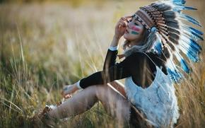 Picture field, summer, grass, girl, face, feathers, sitting, paint, headdress