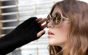 Picture girl, face, sweetheart, glasses, Kaia Gerber