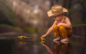 Picture hat, boy, frogs