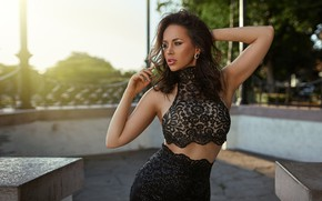 Picture sexy, pose, model, skirt, portrait, makeup, figure, brunette, hairstyle, blouse, beauty, in black, bokeh, Peter …