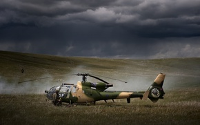 Picture gun, soldier, weapon, helicopter, pearls, uniform, seifuku, France Air Force, Sud-Aviation Gazelle, SA 341, France …