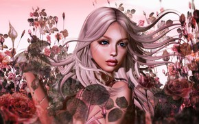 Picture summer, girl, nature, face, rendering, hair