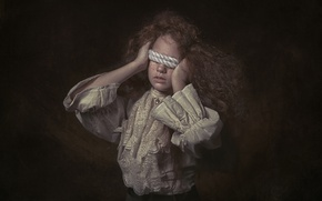 Picture girl, freckles, rope, FineArt