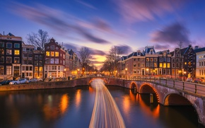 Picture the city, lights, the evening, excerpt, Amsterdam, channel, Netherlands, bridges