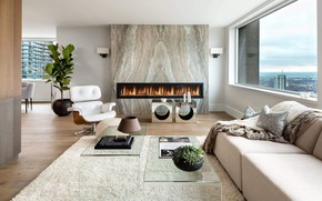 Picture interior, fireplace, living room, Bay Bloor Penthouse
