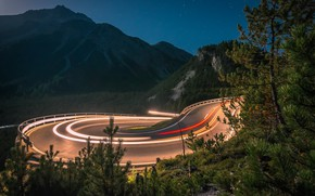 Picture road, mountains, night, lights