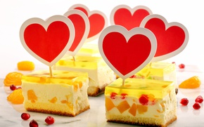 Picture hearts, cake, cream, valentine's day, jelly, biscuit, wideonet