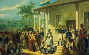 Wallpaper oil, picture, canvas, Prince Diponegoro Captured Lieutenant-General, Nicolas Pieneman