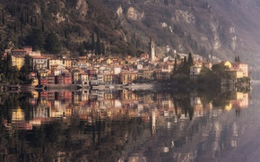 Picture water, reflection, home, Italy, municipality, Varenna, the region of Lombardy, the province of Lecco