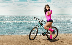 Wallpaper woman, beauty, activewear, bicycle, fit, beach, sports